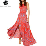 Lily Rosie Girl Off Shoulder Red Boho Floral Print Dress Women Split Summer Beach Sexy Backless Bow Maxi Long Dresses Vestidos