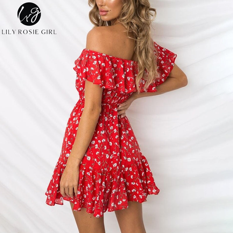 Lily Rosie Girl Off Shoulder Chiffon Boho Summer Dress Red Print Floral Women Dress Short Ruffles Beach Casual Dress Vestidos