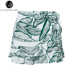Lily Rosie Girl 2018 Red leaf print summer Skirts Women ruffle girl skirt Casual high waist Skirt beach