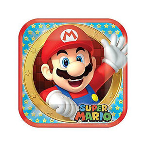 Super Mario Bros 9 Inch Square Plates [8 per Package] - shop54675