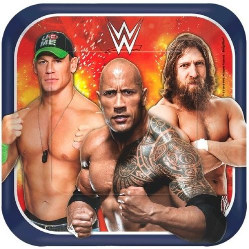 WWE 7 Inches Square Plates [8 per Pack] - shop54675