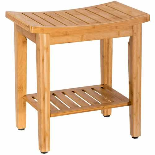 "18"" Bamboo Shower Seat Bench with Storage Shelf - shop54675"