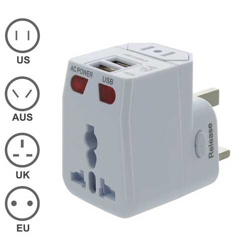 Universal Travel Adapter with Dual USB Charging Ports - shop54675