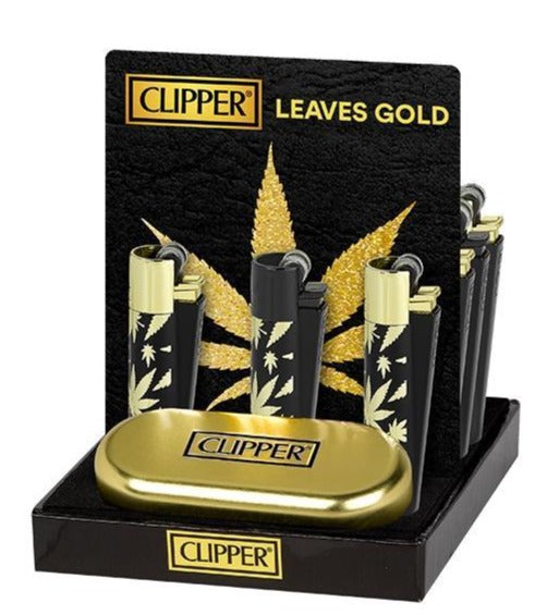 Mechero CLIPPER Metal Hojas de Oro - mylegalize