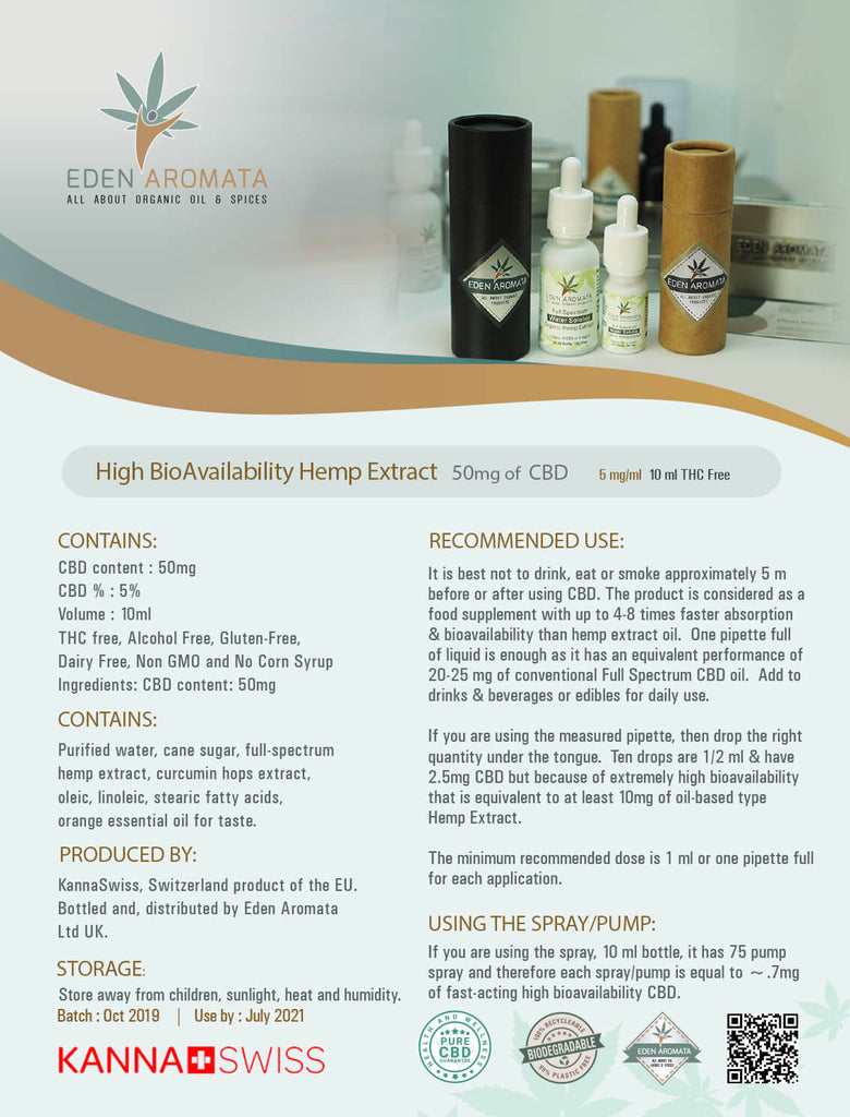 Eden Aromata High Bioavailability Hemp Extract Water-Soluble 5% 10ml
