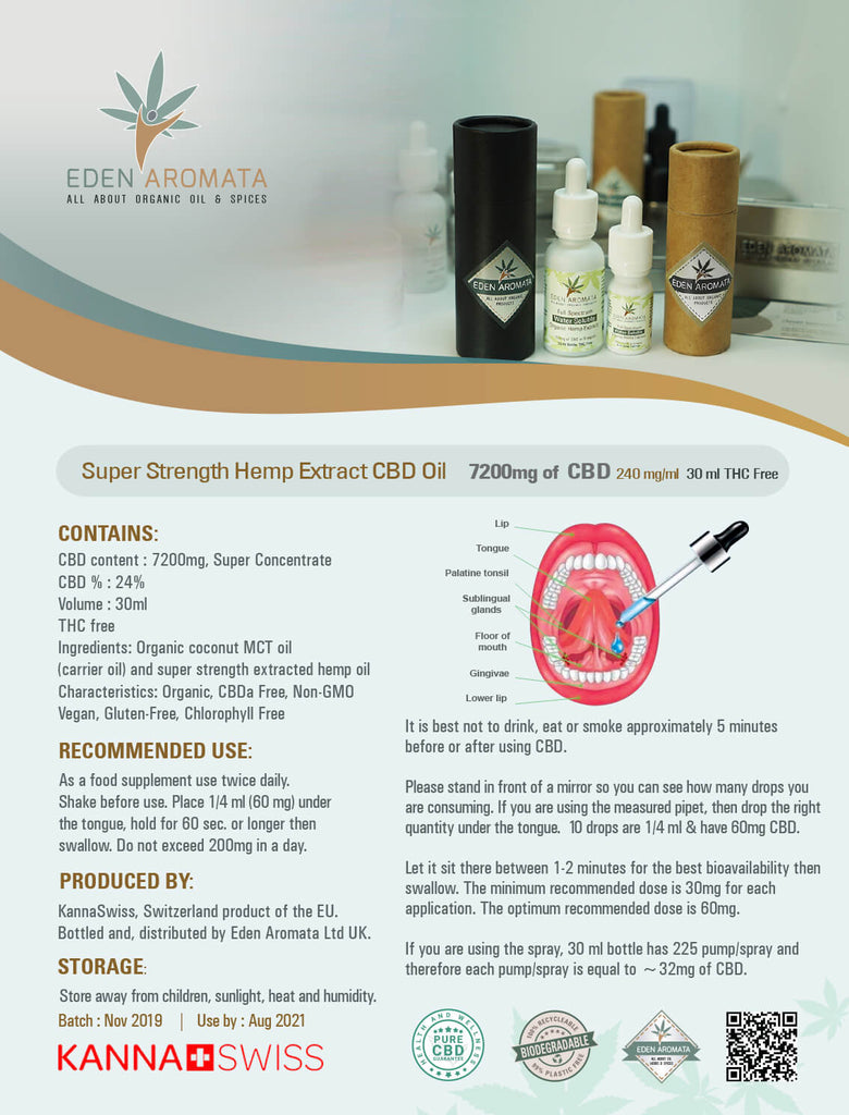 Eden Aromata Super Strength Hemp Extract Oil 24% 30ml 7200mg CBD