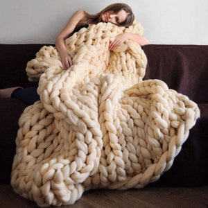 Hand Chunky Bulky Knitted Blankets Winter Soft Warm Throw