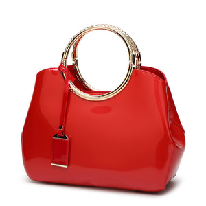 Luxury Patent Leather Round Handle Handbag