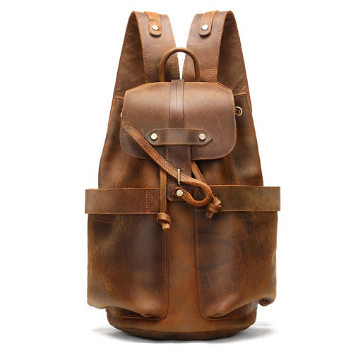 Crazy Horse Leather Multi-function Travel Backpack