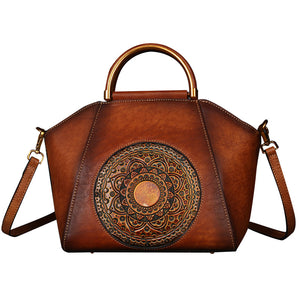 Genuine Leather Embossing Totem Elegant Handbag-Small