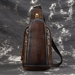 Men's Crazy Horse Leather Chest Bag