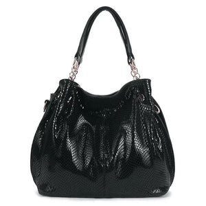 Women Large Capacity Snake Print Shoulder Bag