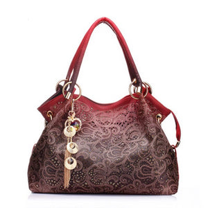 Hollow Out Floral Print Bag