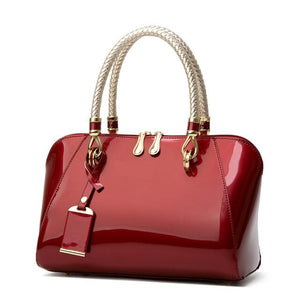 Luxury Patent Leather Shell Shape Handbag