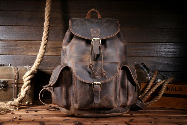 Genuine Leather Rucksack Men Backpack