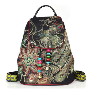 Floral Embroidery Peacock Backpack