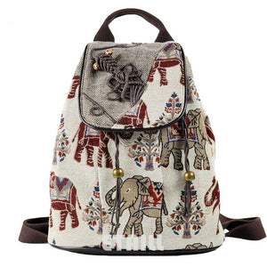 Elephant Embroidered Drawstring Backpack