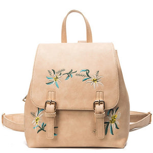 Floral Leather Women Embroidery Backpack