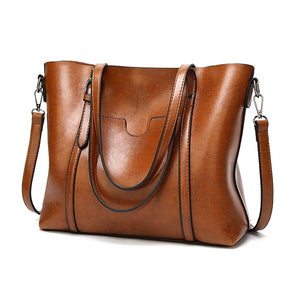 Oil Wax Leather Handbag Big Tote Bag