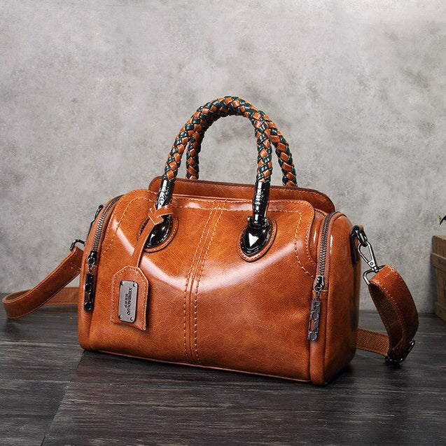 Large Capacity Multi Pockets Classical Women Leather Handbag