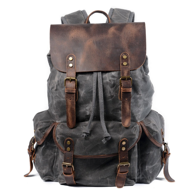 Canvas Leather Vintage Waterproof Laptop Backpack(shipping fee counts by weight)