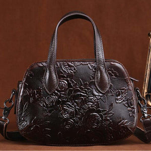 Genuine Leather Flower Embossed Handbag