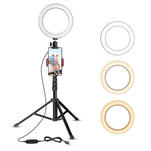 Self-timer ring with tripod stand and phone holder for live streaming/makeup