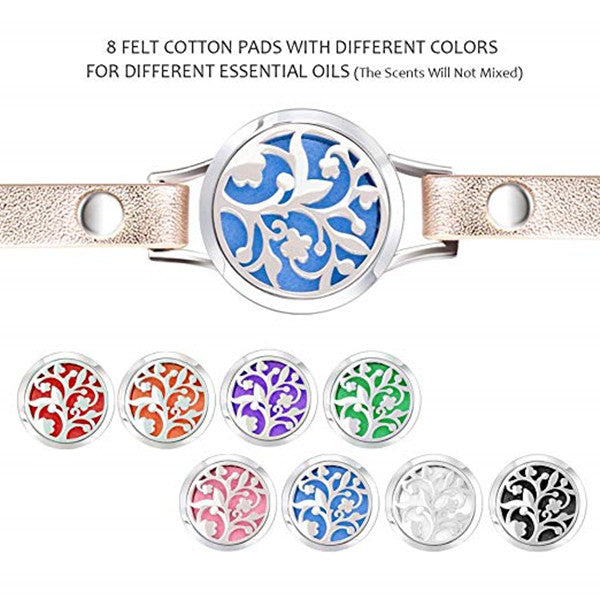 Essential Oil diffuser Bracelet lovesea Aromatherapy Box Bracelet Leather Strap with 8-Color Sanitary Napkin,TREE, Gol