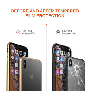 360 Double Sided Glass Magnetic Adsorption Phone Case For iPhone  Metal Magnet Tempered Glass
