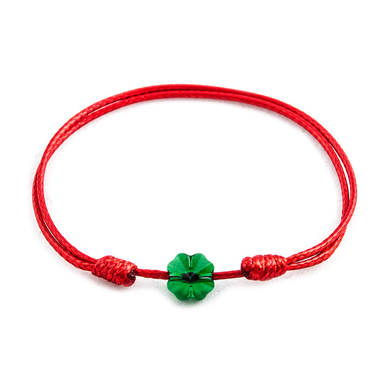 Red String 'Green Clover' Bracelet