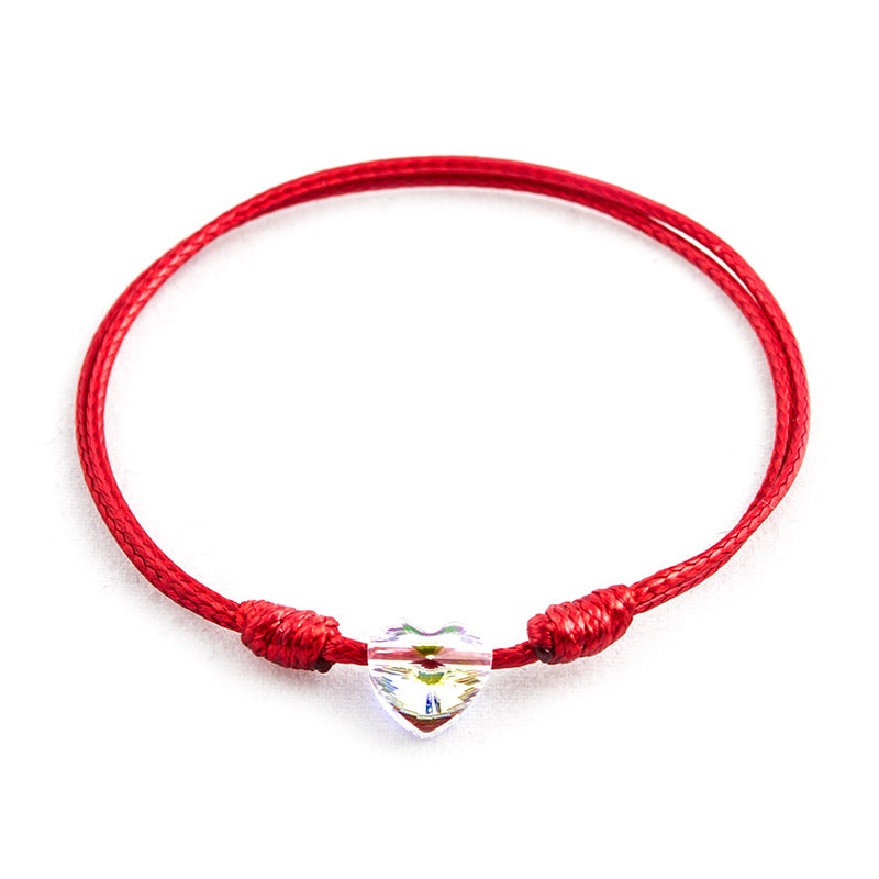 Red String 'Crystal Heart' Bracelet