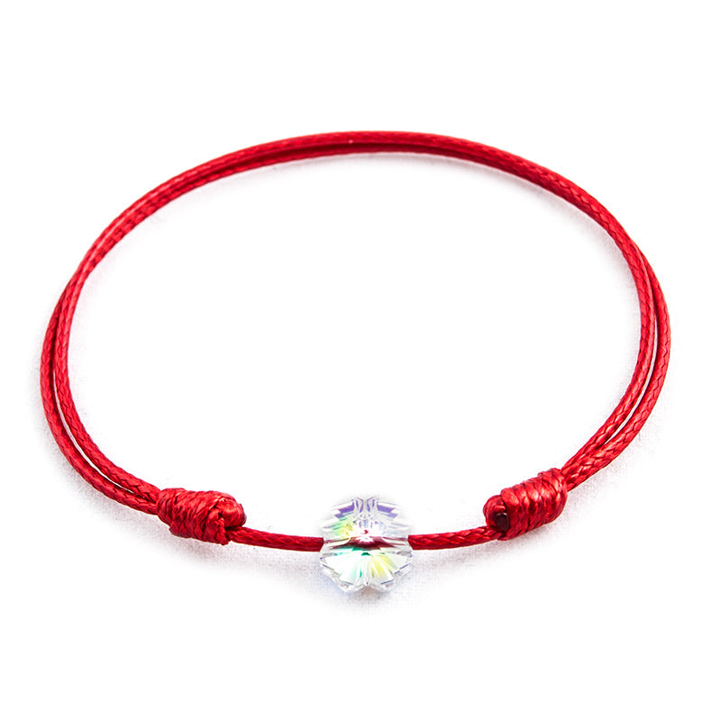 Red String 'Crysal Clover' Bracelet