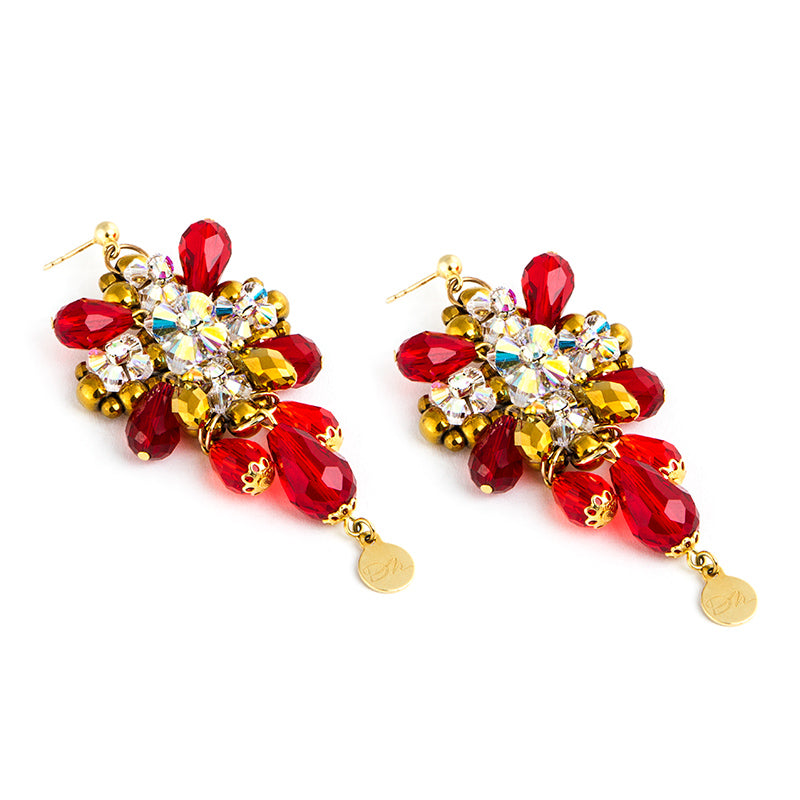 'Red Teardrops' Earrings