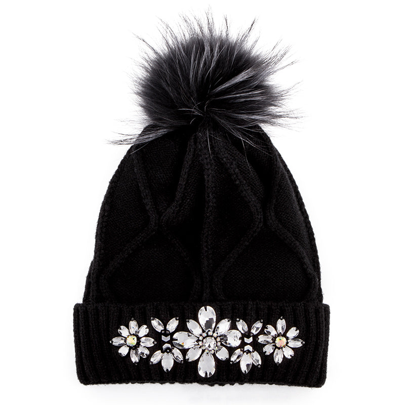 Black winter hat with fur and crystals