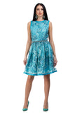 Sky blue lace dress with floral sequin elements