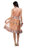 Peach-golden lace skirt with fine floral elements