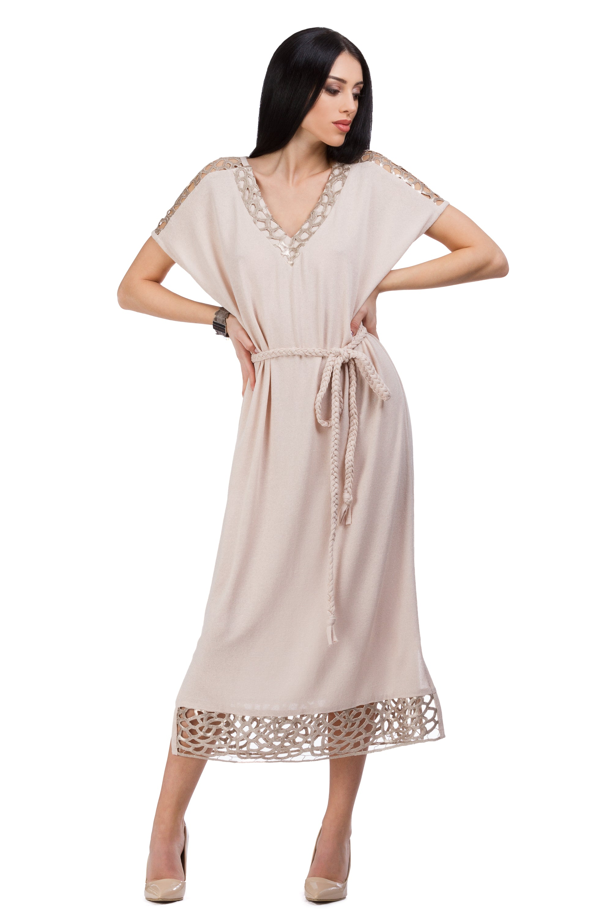 Mocha color dress with golden-copper thread