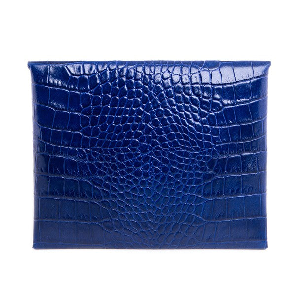 Blue Leather Clutch Handbag with Crystals