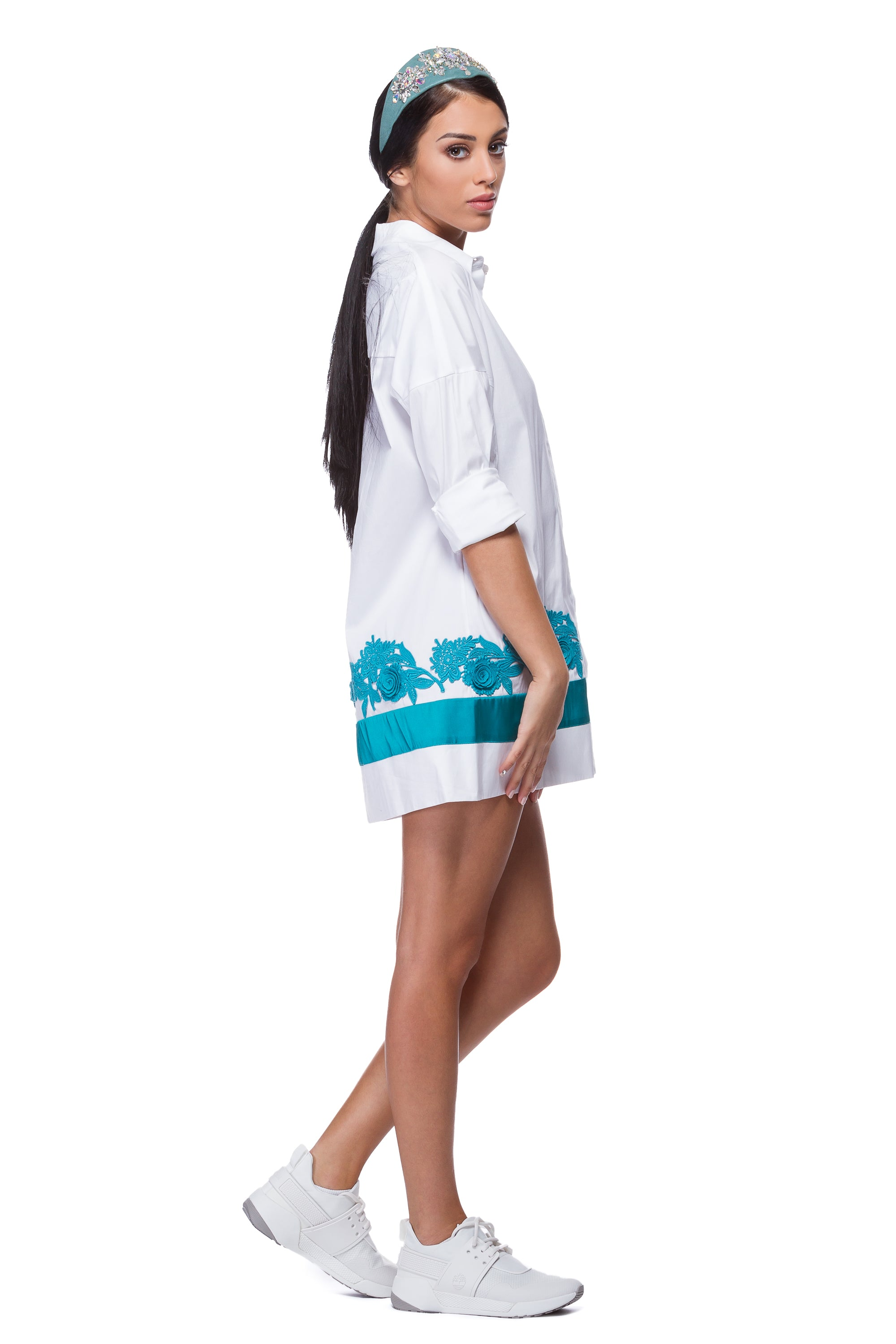 White shirt dress with Brussels lace WSH-0001