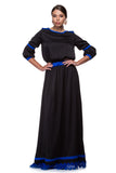 Long black dress with silk details and Brussels lace WDR-0001