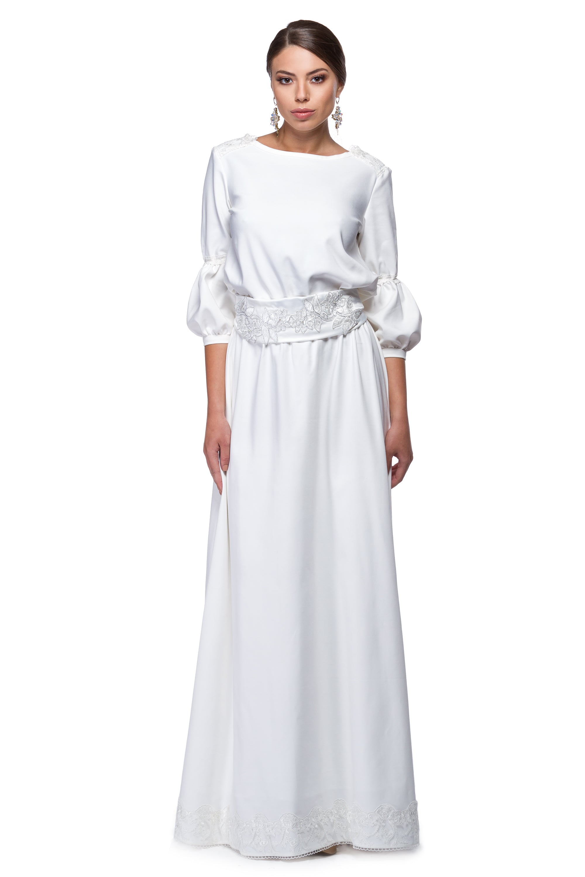 Long white dress in white and ivory WDR-0003