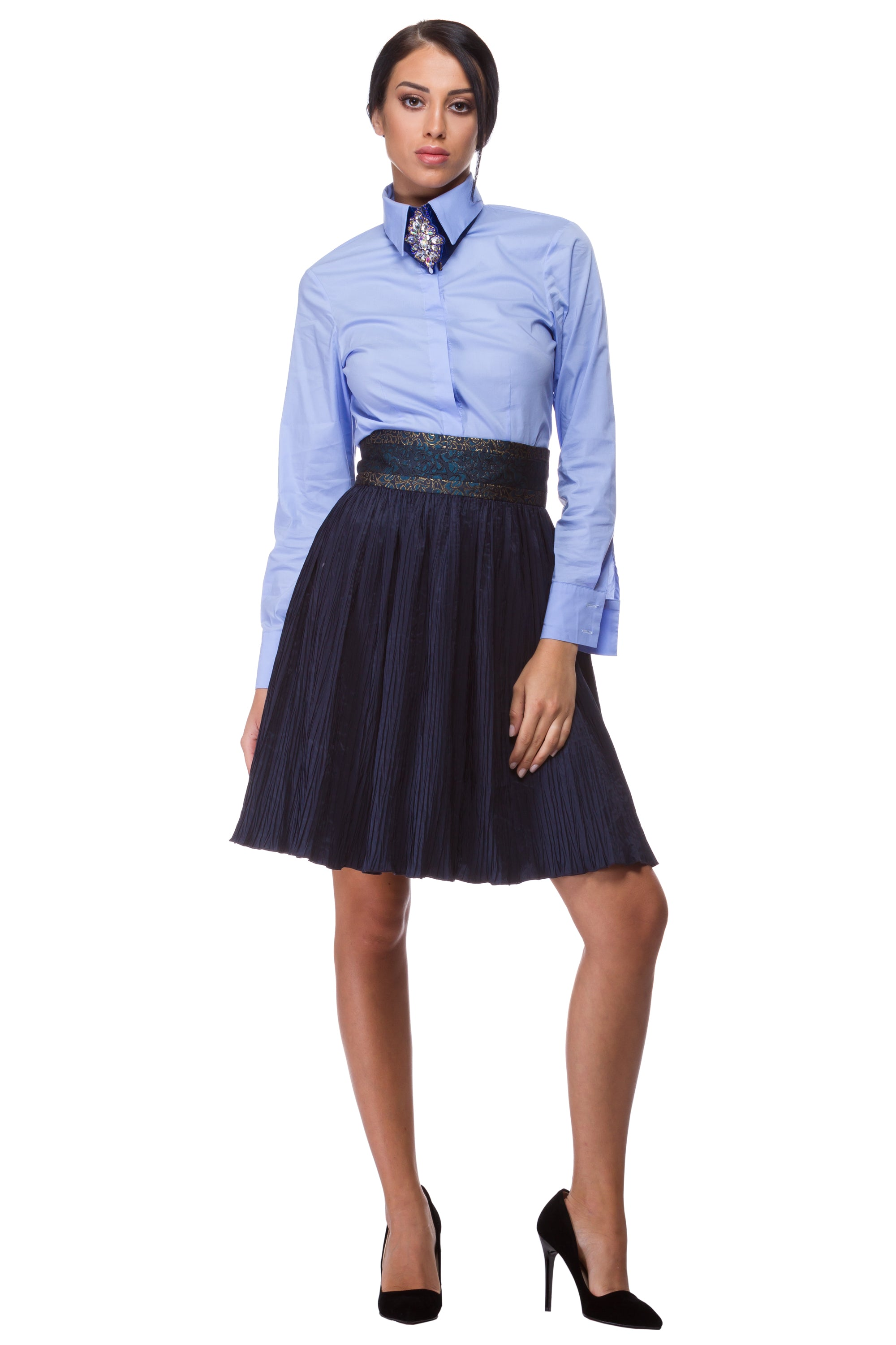 Pleated blue skirt with jacquard belt - WSK-0001