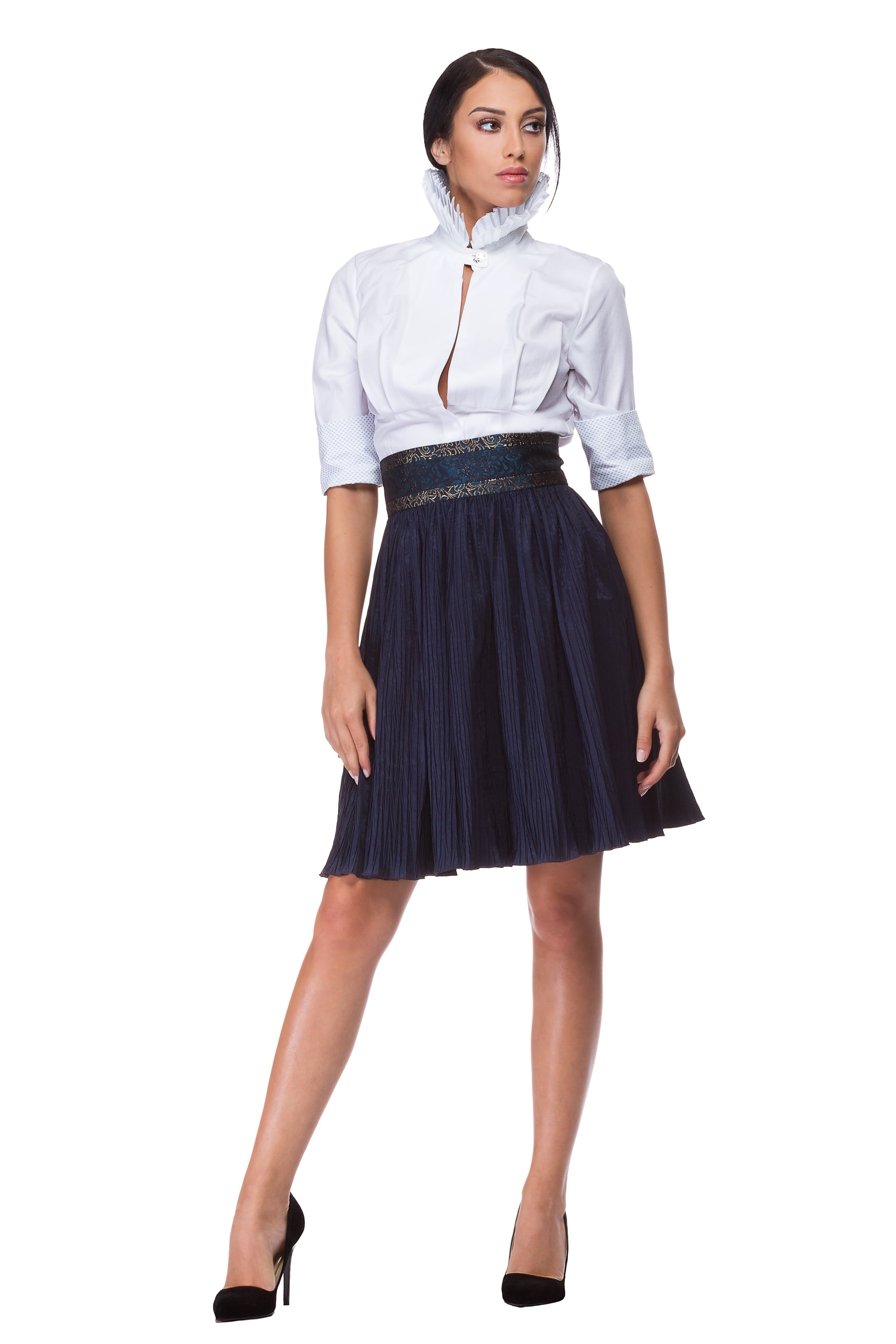 White half-sleeve cotton shirt with pleated high collar WSH-0004