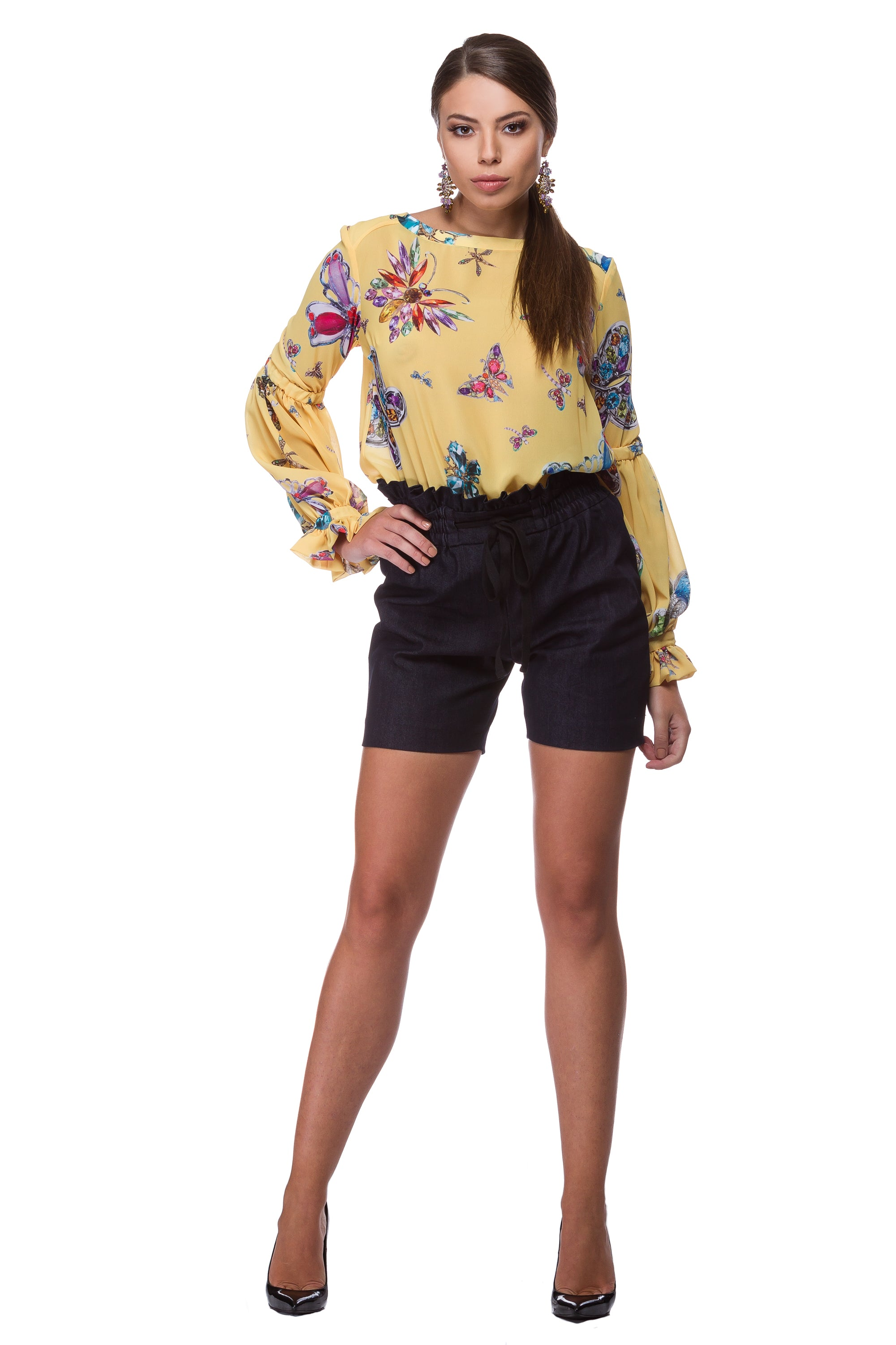 Yellow chiffon blouse with butterfly print WBL-0001