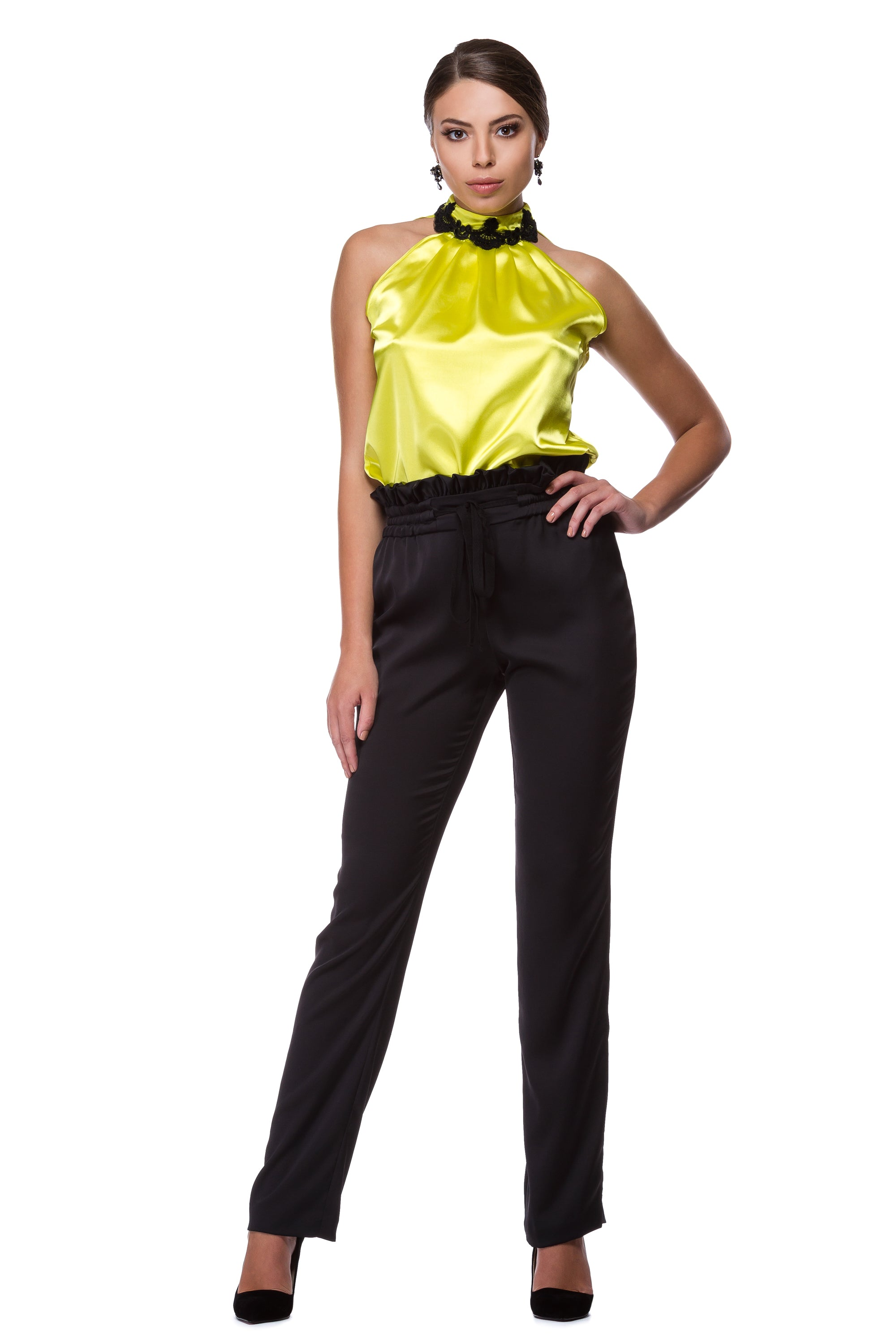 Dark trousers with elastic belt WPN-0001