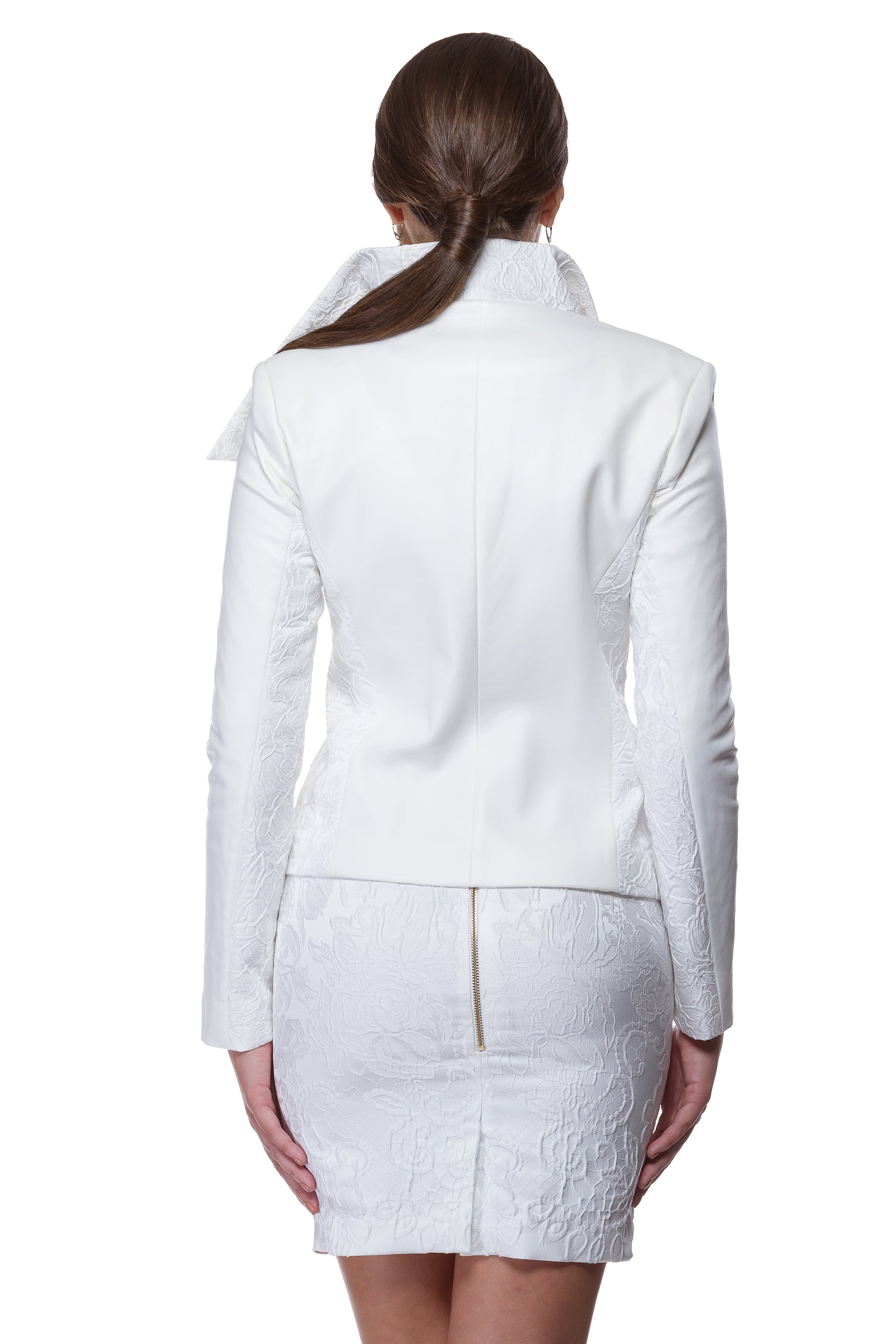 White jacquard jacket with floral elements WJK-0003
