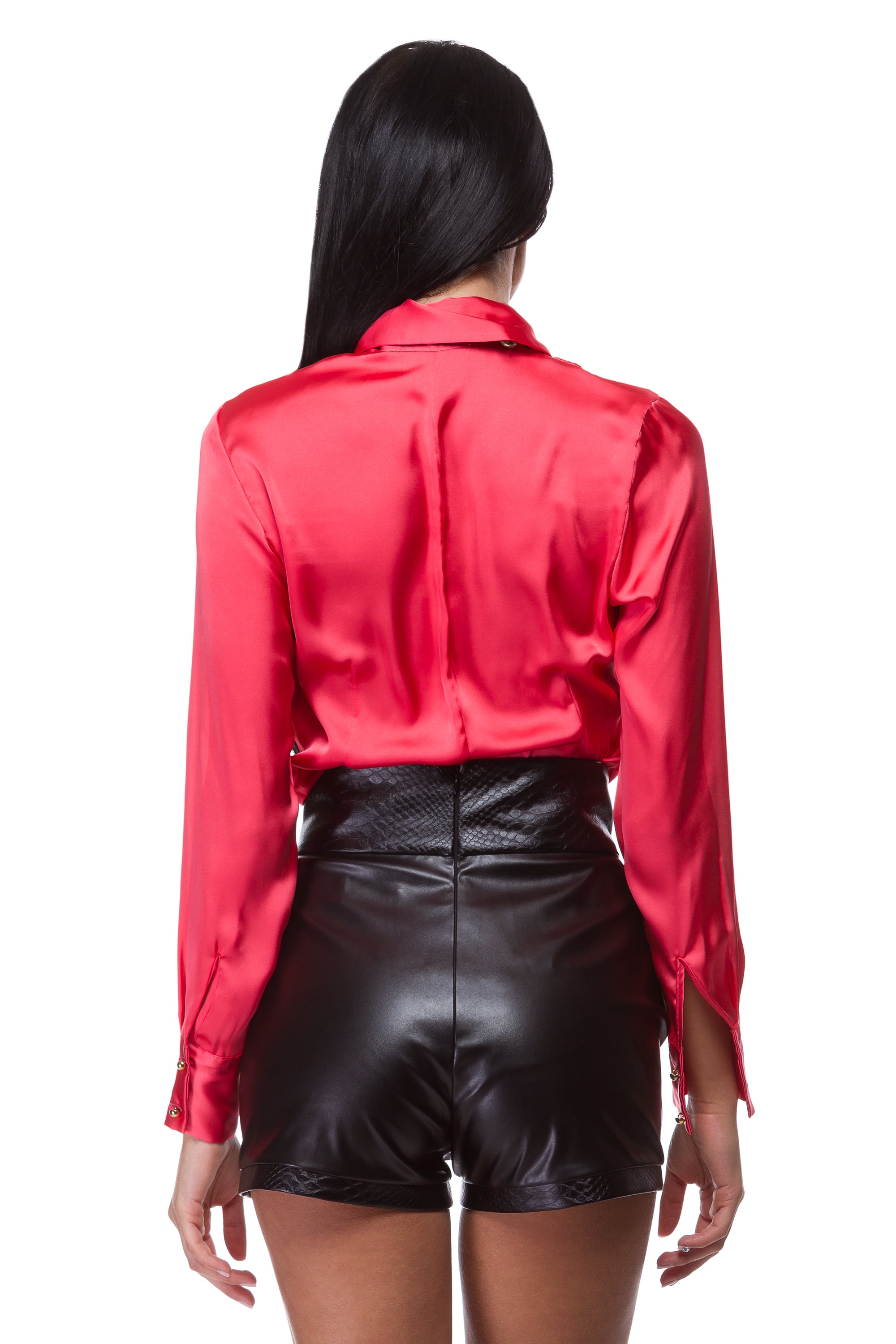 Red shirt with wide collar and lapels WSH-0005