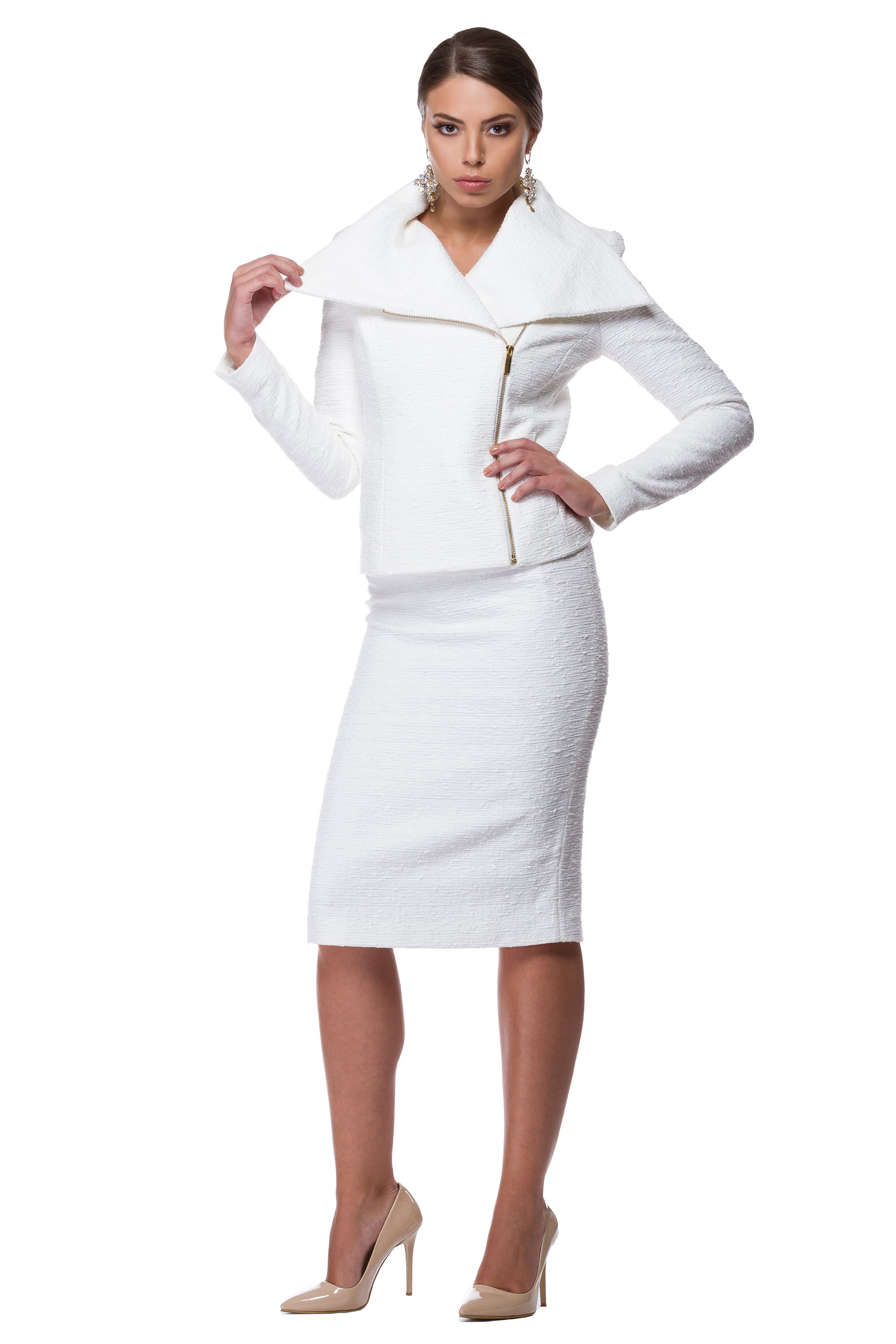 White cotton pencil skirt WSK-0002