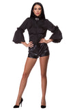 Black satin shirt with lace WSH-0006