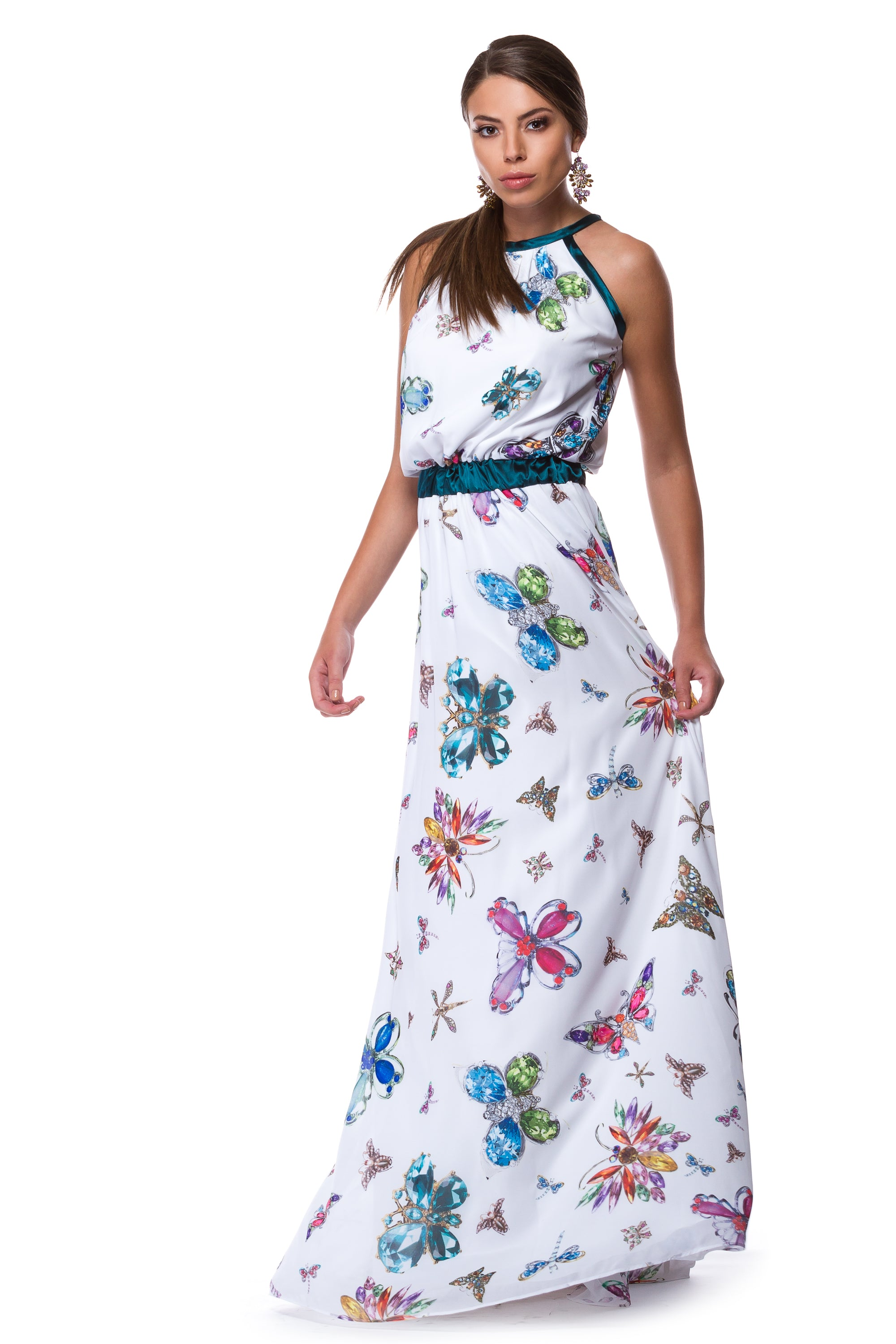Long white chiffon dress with butterfly dress WDR-0005